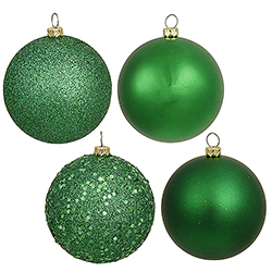 4 Inch Green Assorted Finishes Round Christmas Ball Ornament 12 per Set