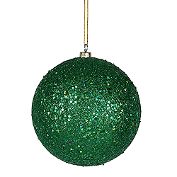 4 Inch Green Sequin Round Ornament 6 per Set
