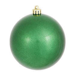 4 Inch Green Pearl Finish Round Ornament