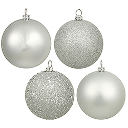 4 Inch Silver Assorted Finishes Round Christmas Ball Ornament 12 per Set