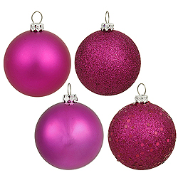 4 Inch Magenta Assorted Finishes Round Christmas Ball Ornament 12 per Set