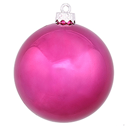 4 Inch Magenta Shiny Finish Round Christmas Ball Ornament Shatterproof UV 4 per Set