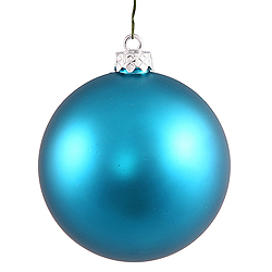 4 Inch Turquoise Matte Round Ornament 6 per Set