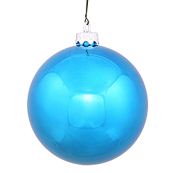 4 Inch Turquoise Shiny Round Ornament 6 per Set