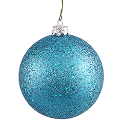 4 Inch Turquoise Sequin Finish Ornament 3 per Set