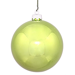 4 Inch Lime Shiny Round Ornament 6 per Set
