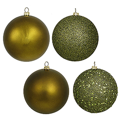 4 Inch Olive Assorted Finishes Round Christmas Ball Ornament 12 per Set