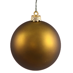 4 Inch Olive Green Matte Finish Round Christmas Ball Ornament Shatterproof UV 4 per Set