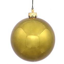 4 Inch Olive Green Shiny Finish Round Christmas Ball Ornament Shatterproof UV 4 per Set