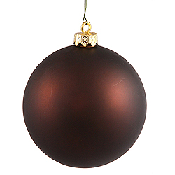 4 Inch Chocolate Matte Round Shatterproof UV Christmas Ball Ornament 6 per Set
