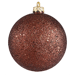 4 Inch Chocolate Sequin Round Ornament 6 per Set