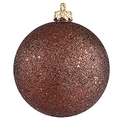 4 Inch Chocolate Brown Sequin Finish Round Christmas Ball Ornament Shatterproof 4 per Set