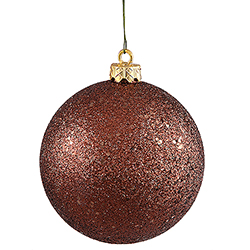 4 Inch Mocha Sequin Finish Round Christmas Ball Ornament Shatterproof 4 per Set