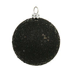 4 Inch Black Sequin Round Ornament 6 per Set