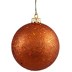 4 Inch Burnish Orange Sequin Round Ornament 6 per Set