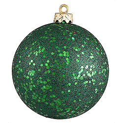 4 Inch Emerald Green Sequin Finish Round Christmas Ball Ornament Shatterproof 4 per Set