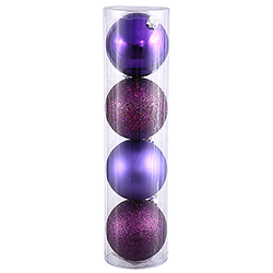 4 Inch Plum Assorted Finishes Round Christmas Ball Ornament 12 per Set
