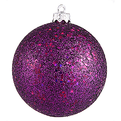 4 Inch Plum Sequin Round Ornament 6 per Set