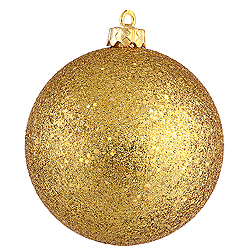 4 Inch Antique Gold Sequin Round Ornament 6 per Set