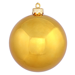 4 Inch Antique Gold Shiny Round Ornament 6 per Set