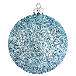 4 Inch Baby Blue Sequin Round Ornament 6 per Set