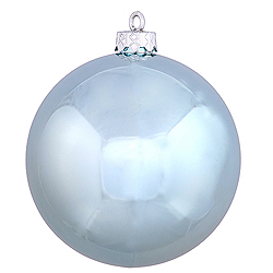 4 Inch Baby Blue Shiny Round Ornament 6 per Set