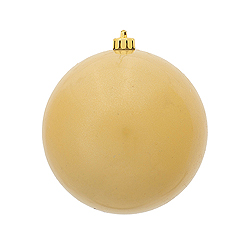 4 Inch Champagne Candy Round Ornament 6 per Set