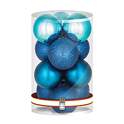 4 Inch Sea Blue Round Assorted Finishes Round Christmas Ball Ornament 12 per Set