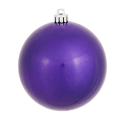 4.75 Inch Purple Candy Round Shatterproof UV Christmas Ball Ornament 4 per Set