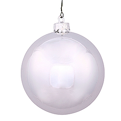 4.75 Inch Silver Shiny Round Shatterproof UV Christmas Ball Ornament 4 per Set