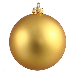4.75 Inch Gold Matte Round Shatterproof UV Christmas Ball Ornament 4 per Set