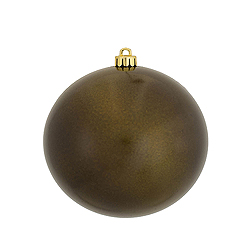 4.75 Inch Olive Candy Round Shatterproof UV Christmas Ball Ornament 4 per Set