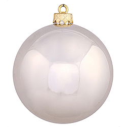 4.75 Inch Champagne Shiny Round Shatterproof UV Christmas Ball Ornament 4 per Set