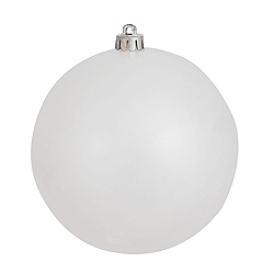 6 Inch White Candy Round Shatterproof UV Christmas Ball Ornament 4 per Set