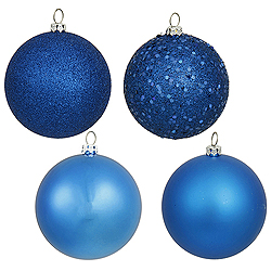 6 Inch Blue Assorted Finishes Round Christmas Ball Ornament 4 per Set
