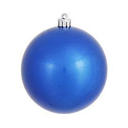 6 Inch Blue Candy Round Shatterproof UV Christmas Ball Ornament 4 per Set