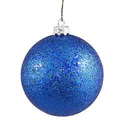 6 Inch Blue Sequin Round Shatterproof UV Christmas Ball Ornament 4 per Set