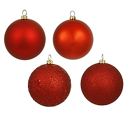 6 Inch Red Assorted Finishes Round Christmas Ball Ornament 4 per Set