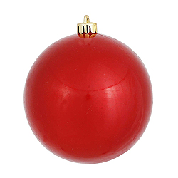 6 Inch Red Candy Round Shatterproof UV Christmas Ball Ornament 4 per Set