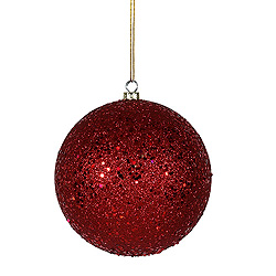 6 Inch Red Sequin Round Shatterproof UV Christmas Ball Ornament 4 per Set