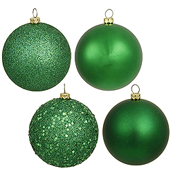 6 Inch Green Assorted Finishes Round Christmas Ball Ornament 4 per Set