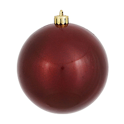 6 Inch Burgundy Candy Round Shatterproof UV Christmas Ball Ornament 4 per Set