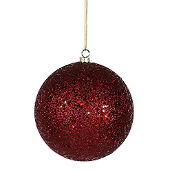 6 Inch Burgundy Sequin Round Shatterproof UV Christmas Ball Ornament 4 per Set