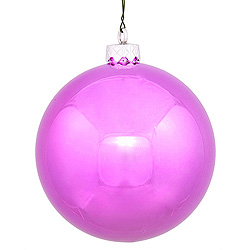 6 Inch Orchid Shiny Round Shatterproof UV Christmas Ball Ornament 4 per Set