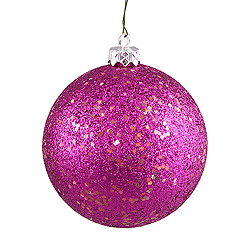 6 Inch Magenta Sequin Round Shatterproof UV Christmas Ball Ornament 4 per Set