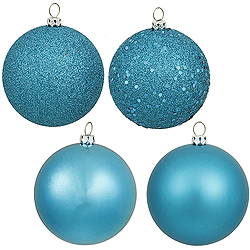 6 Inch Turquoise Assorted Finishes Round Christmas Ball Ornament 4 per Set