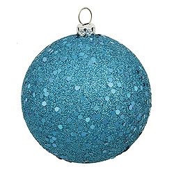 6 Inch Turquoise Sequin Round Shatterproof UV Christmas Ball Ornament 4 per Set