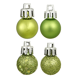 6 Inch Lime Assorted Finishes Round Christmas Ball Ornament 4 per Set