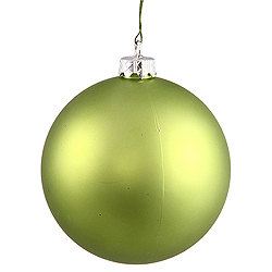 6 Inch Lime Matte Round Shatterproof UV Christmas Ball Ornament 4 per Set