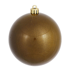 6 Inch Olive Candy Round Shatterproof UV Christmas Ball Ornament 4 per Set